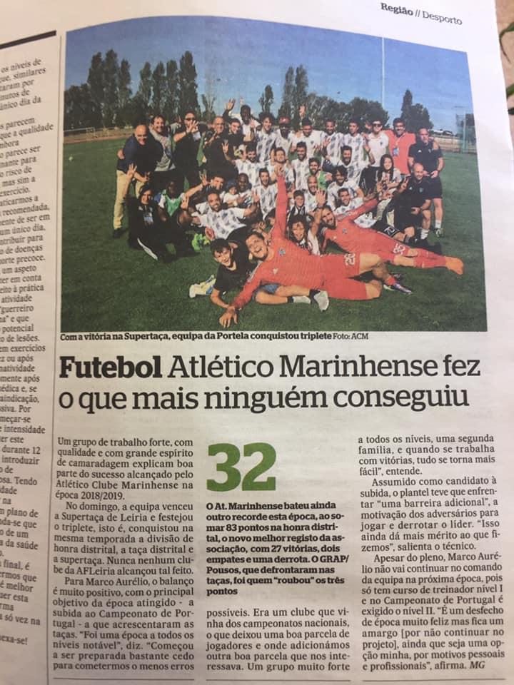 Um exemplo da presença mediática e Marketing Desportivo do Atlético Clube Marinhense (Região de Leiria)